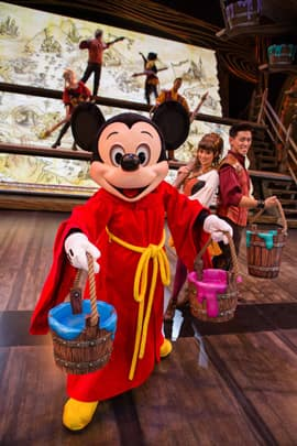 Mickey Mouse on the Fantasyland Theatre Stage with the Mapmakers for 'Mickey and the Magical Map' at Disneyland Park