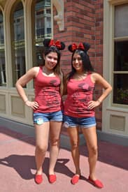 Coordinating Your Outfit With a Friend Can be Twice as Fun, the Tank Top and Denim Shorts are Perfect for a Day in the Park and the Red Shoes are Nice Finishing Touch