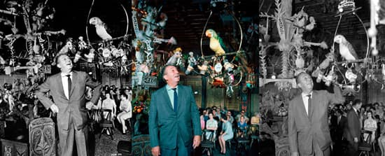 Iconic Photos of Walt Disney in the Enchanted Tiki Room at Disneyland Park