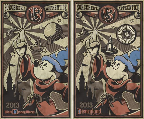 The 2013 Poster for July from Disney Design Group Features Mickey Mouse as the Sorcerer's Apprentice