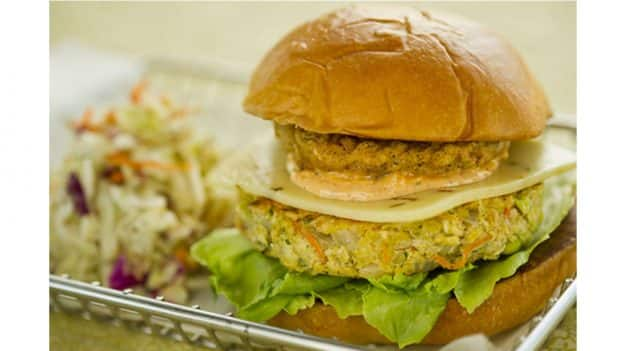 Vegetable Burger with Fried Green Tomatoes and Creole Remoulade from Landscape of Flavors at Disney's Art of Animation Resort