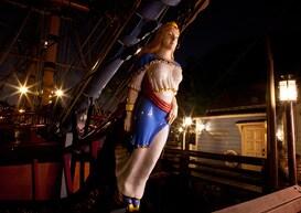 Sailing Ship Columbia at Fowler's Harbor After Dark at Disneyland Park at the Disneyland Resort