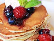 Pancakes with Crème Fraiche, Real Maple Syrup and Mixed Berry Compote at Raglan Road at Downtown Disney