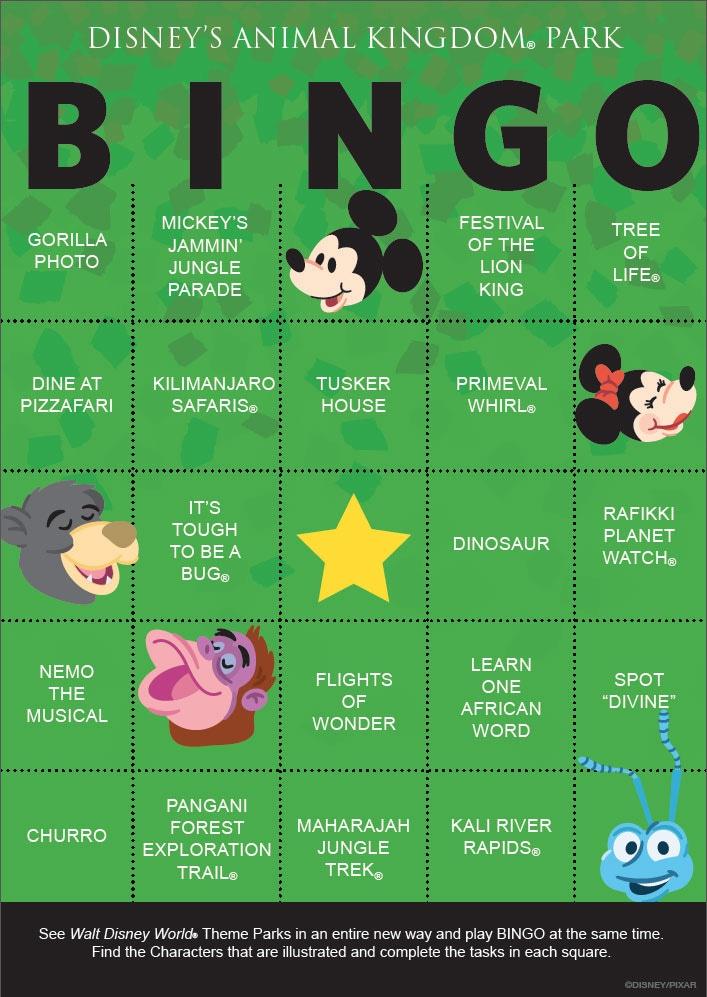 Download Our Disney's Animal Kingdom BINGO Card