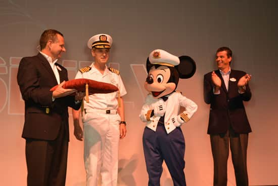 Officers and Crew Aboard the Disney Fantasy Join Senior Vice President Anthony Connelly, Captain Mickey and Vice President Bert Swets in Naming Captain Tom Forberg First Commodore in History of Disney Cruise Line