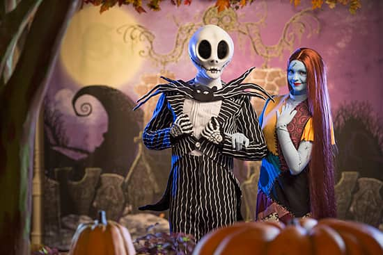 Jack Skellington and Sally at Mickey's Not-So-Scary Halloween Party at Magic Kingdom Park