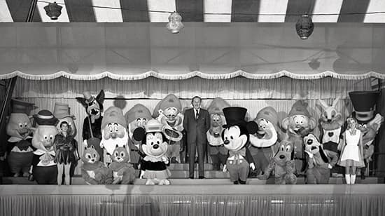 Walt Disney and the Disney Characters at Disneyland Park