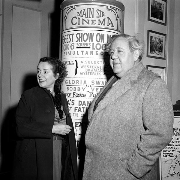 Elsa Lanchester and Charles Laughton Visit Disneyland Park - 1956