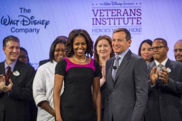 First Lady Michelle Obama and Disney Chairman and CEO Robert A. Iger provide keynote addresses at Disney's first-ever 'Veterans Institute'
