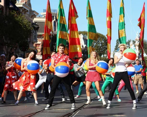 Ross Lynch, Maia Mitchell and the cast of the hit Disney Channel Original Movie, 'Teen Beach Movie' at the Disneyland Resort for the 2013 Disney Parks Christmas Day Parade on ABC