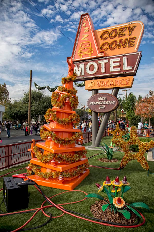 Disney Cars Christmas Decorations.The Christmas Trees Of Cars Land At Disney California