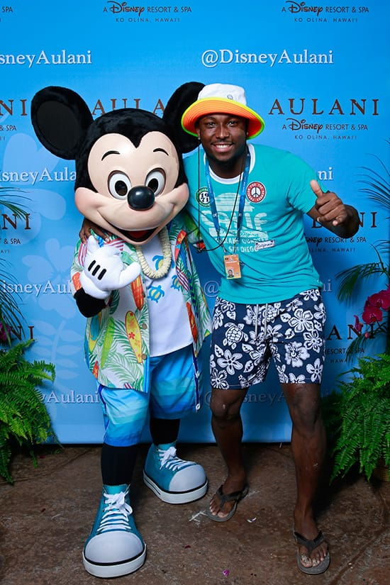 NFL Pro Bowl Running Back LeSean McCoy of the Philadelphia Eagles with Mickey Mouse at Aulani, a Disney Resort & Spa