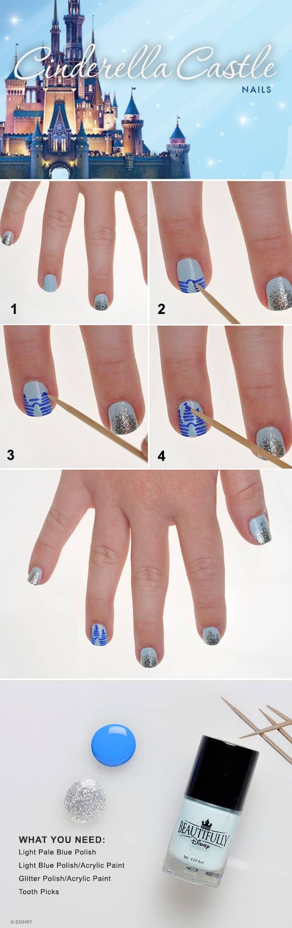 Show Your Disney Side Cinderella Castle Nail Tutorial Disney
