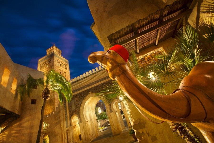 Disney Parks After Dark: Morocco Pavilion After Sunset at Epcot