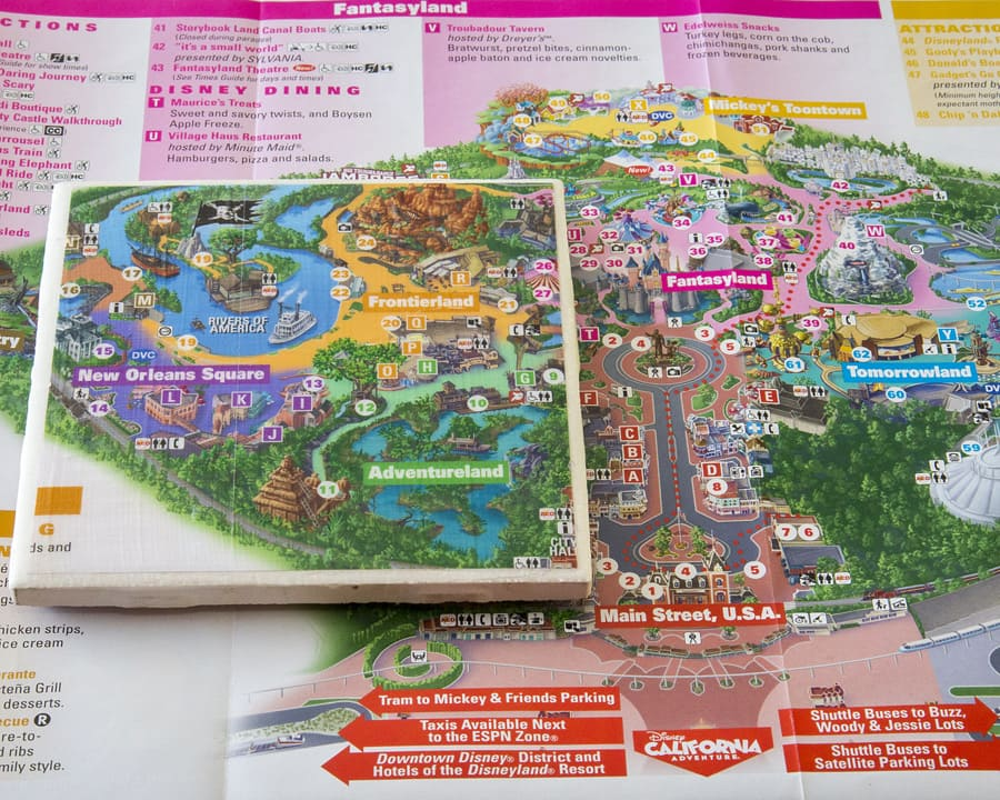 Show Your DIY Disney Side: Disney Parks Guide Map Coasters | Disney Disney Park Map on