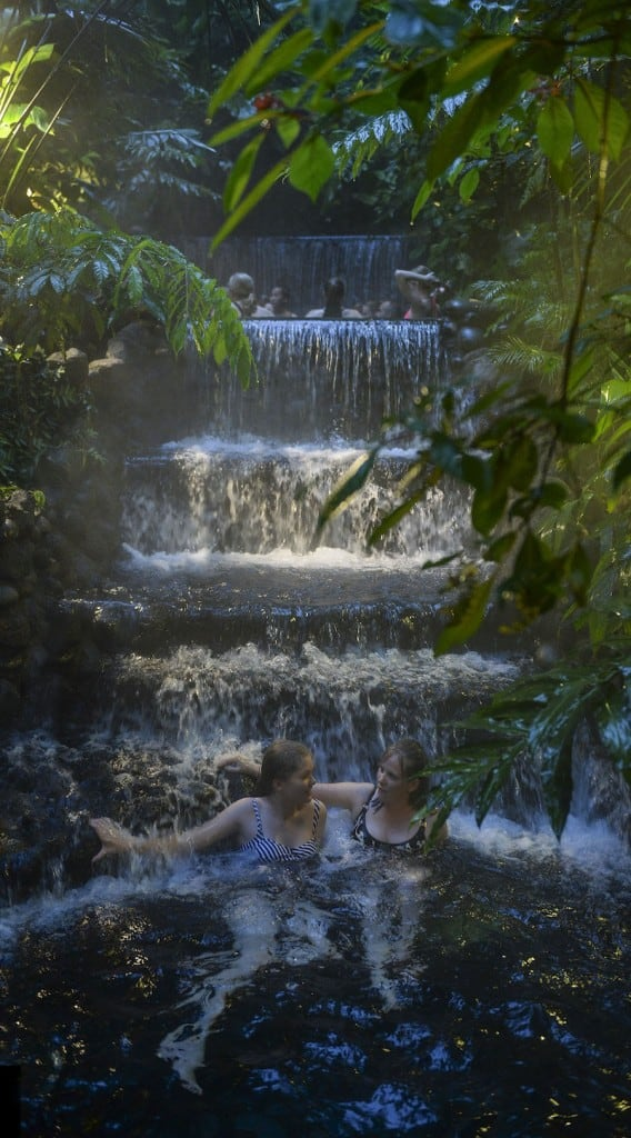 enjoying the hot thermal pools of Eco Termales near Arenal Volcano