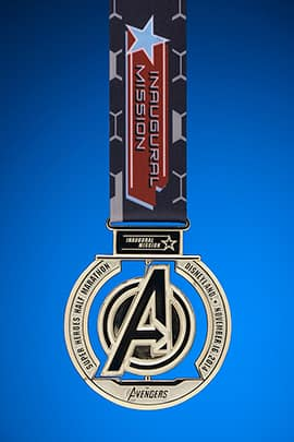 The Avengers Super Heroes Half Marathon Inaugural Mission Finisher Medal Front