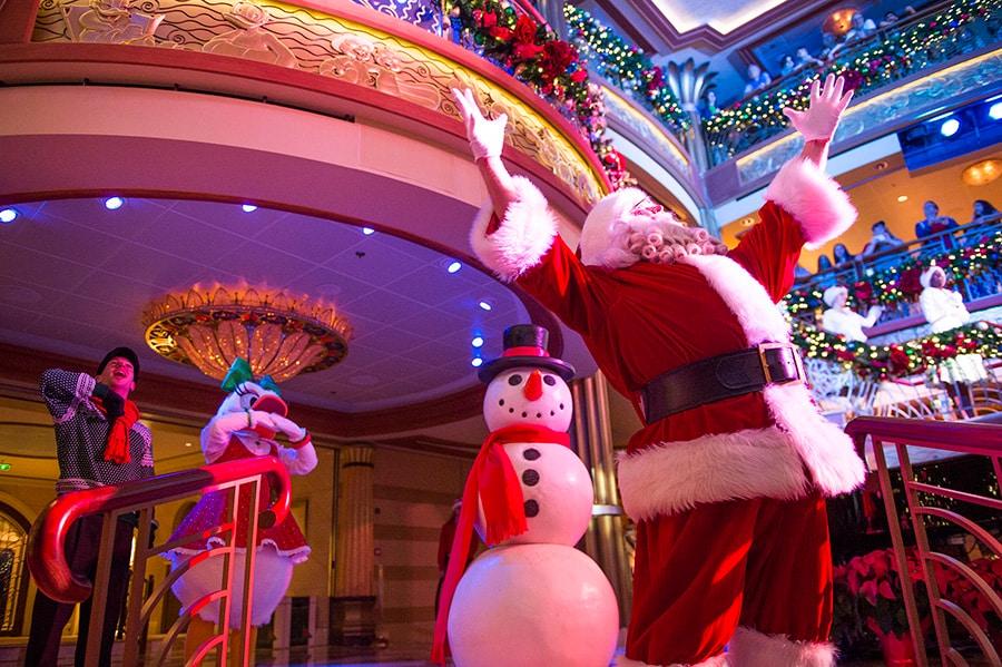 Disney Cruisers Celebrate Santa's Arrival with Frozen Flurries