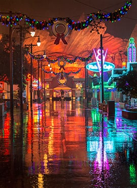 Disney Parks After Dark: Reflections of Cars Land in the Rain