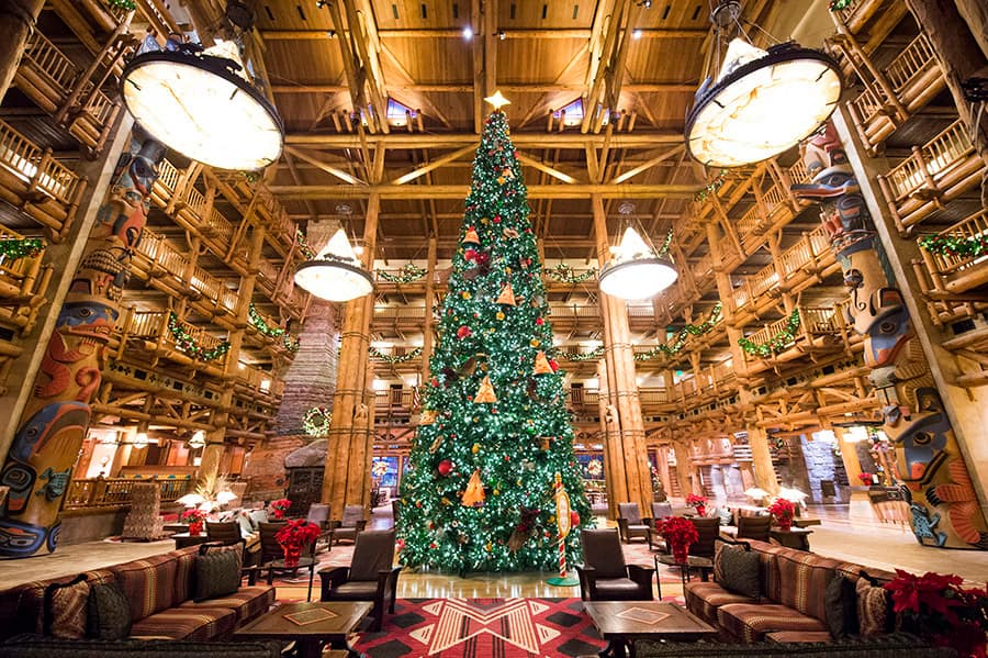 christmas trees at disneys wilderness lodge