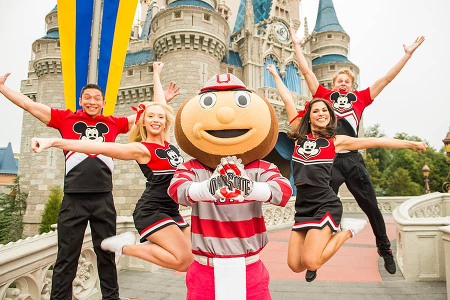 Brutus Buckeye Celebrates Ohio State's Win at Walt Disney World Resort
