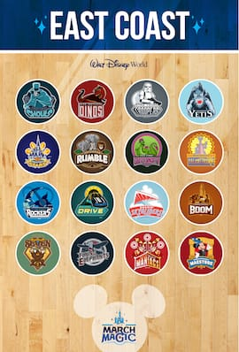 Walt Disney World Resort Roster for the 2015 March Magic Tournament