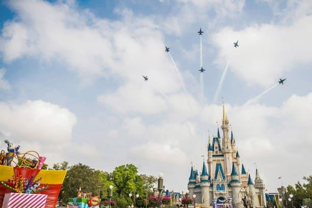 U.S. Navy Blue Angels Soar Above Cinderella Castle at Walt Disney WorldResort