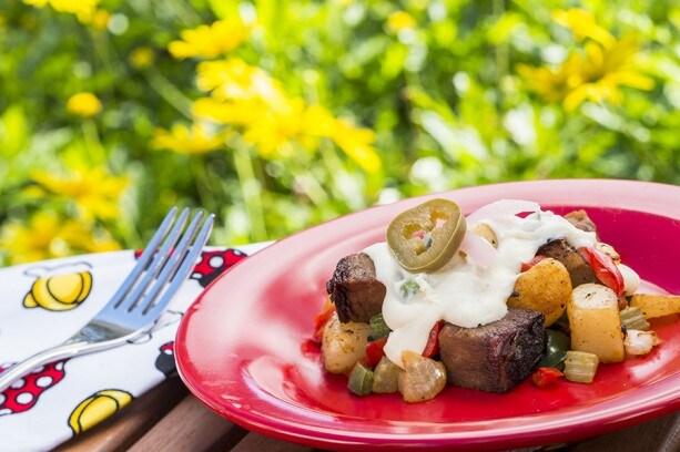 Outdoor Kitchen Offerings at Epcot International Flower & Garden Festival: Beef Brisket Burnt Ends Hash