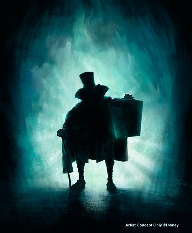 Legendary Hatbox Ghost Comes Out to Socialize in the Haunted Mansion at Disneyland Park in May, Image Courtesy of Walt Disney Imagineering