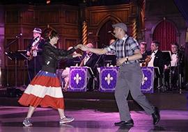 Guests Dancing to the Music of Swingtown at the Royal Swing Big Band Ball at Disneyland Resort