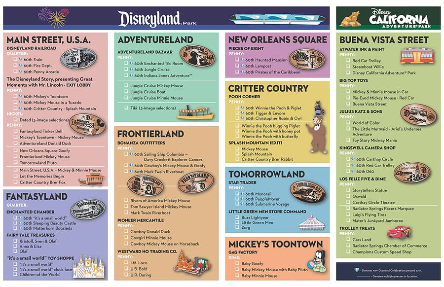 Disneyland Locations World Map.New Pressed Coins Debut For The Disneyland Resort Diamond