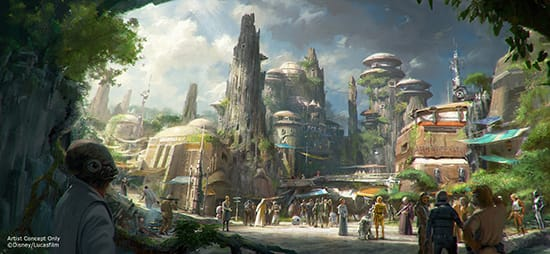 Artist Concept Shows Star Wars-Themed Lands Coming to Walt Disney World and Disneyland Resorts