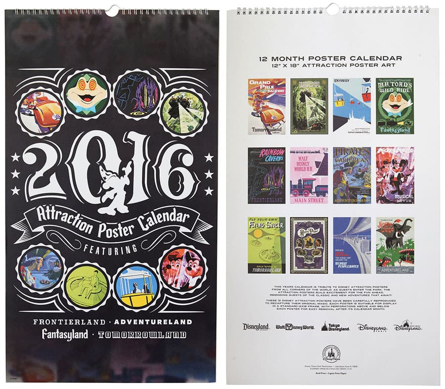 Disney Parks Attraction Poster Deluxe Calendar Returns For 2016