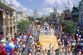 Mickey Mouse and Minnie Mouse in the All-American Parade at Magic Kingdom Parks Back in 1987