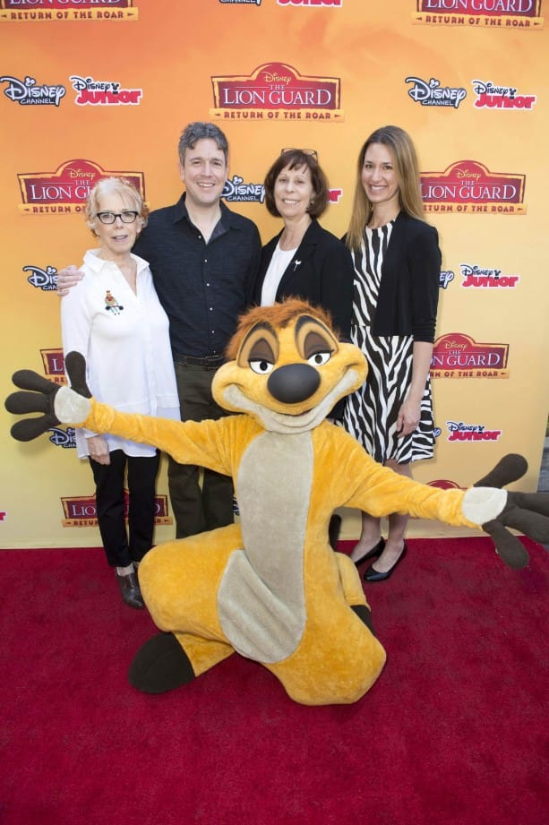 "NANCY KANTER (EXECUTIVE VICE PRESIDENT, ORIGINAL PROGRAMMING & GENERAL MANAGER, DISNEY JUNIOR), FORD RILEY (EXECUTIVE PRODUCER, ""THE LION GUARD""), DR. JILL MELLEN (EDUCATION AND SCIENCE DIRECTOR, DISNEY'S ANIMAL KINGDOM), EMILY HART (VP, ORIGINAL PROGRAMMING, DISNEY JUNIOR), TIMON"