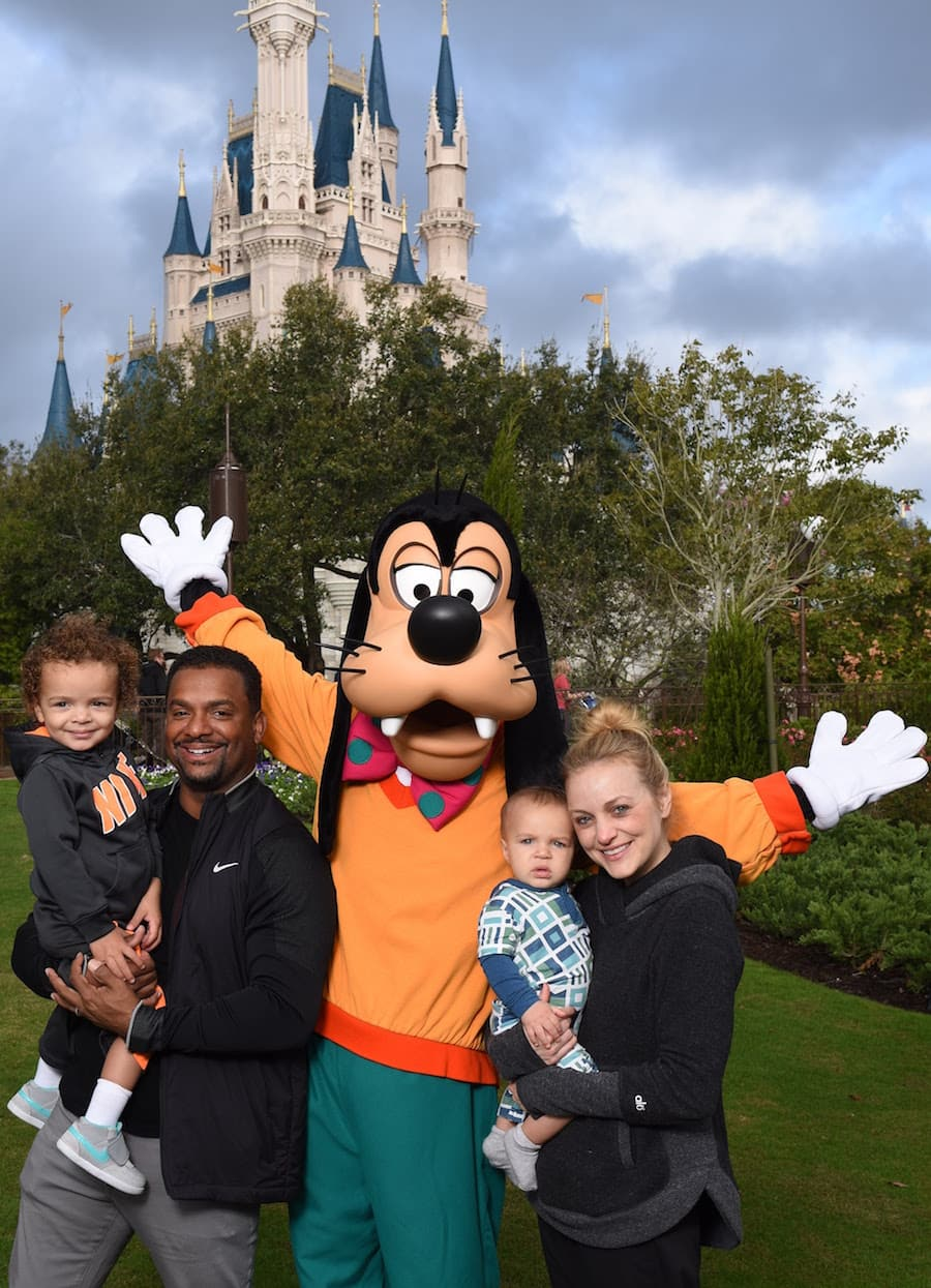 Alfonso Ribeiro and His Family Visit Goofy at Magic Kingdom Park