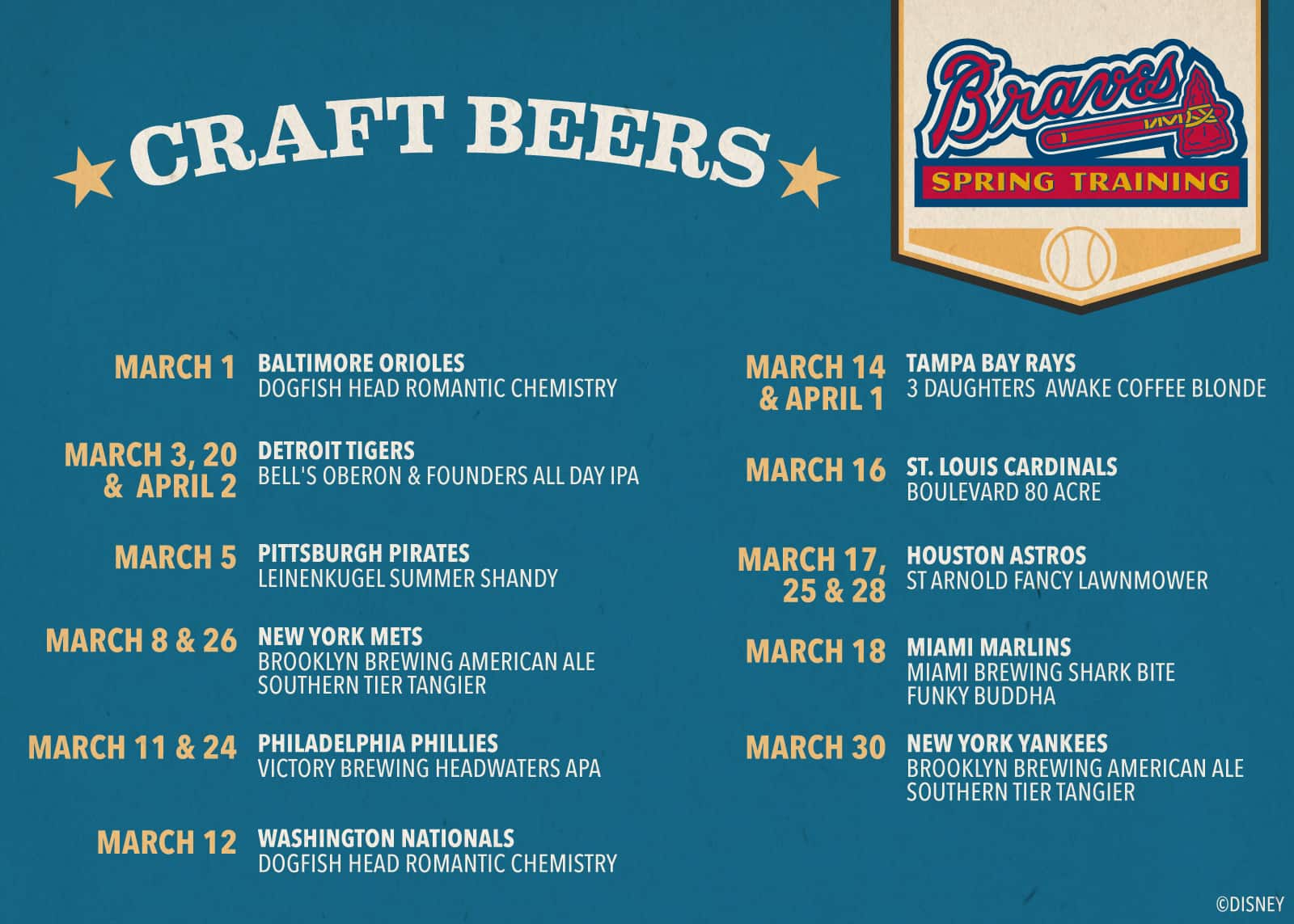 Craft Brew Menu at ESPN Wide World of Sports Complex