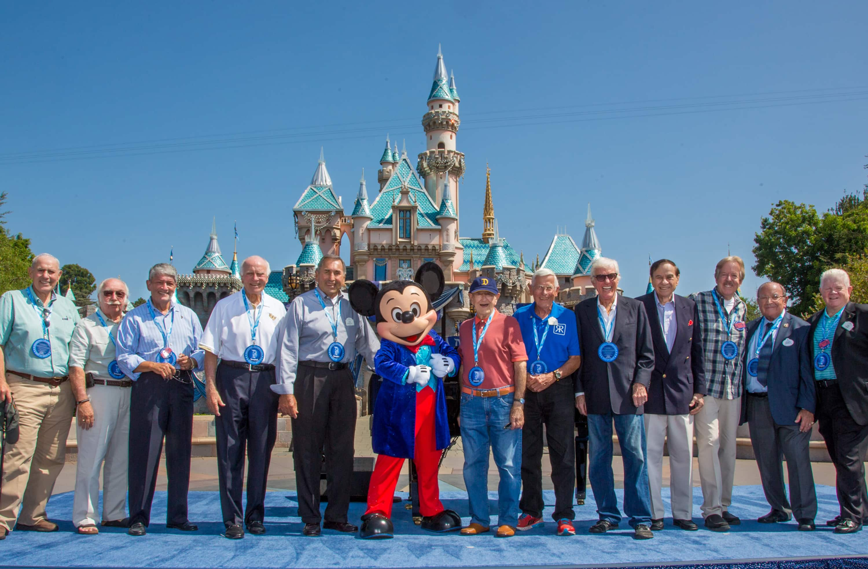 Jack Lindquist (right of Mickey Mouse) and fellow Disney Legends and Club 55ers on July 17, 2015