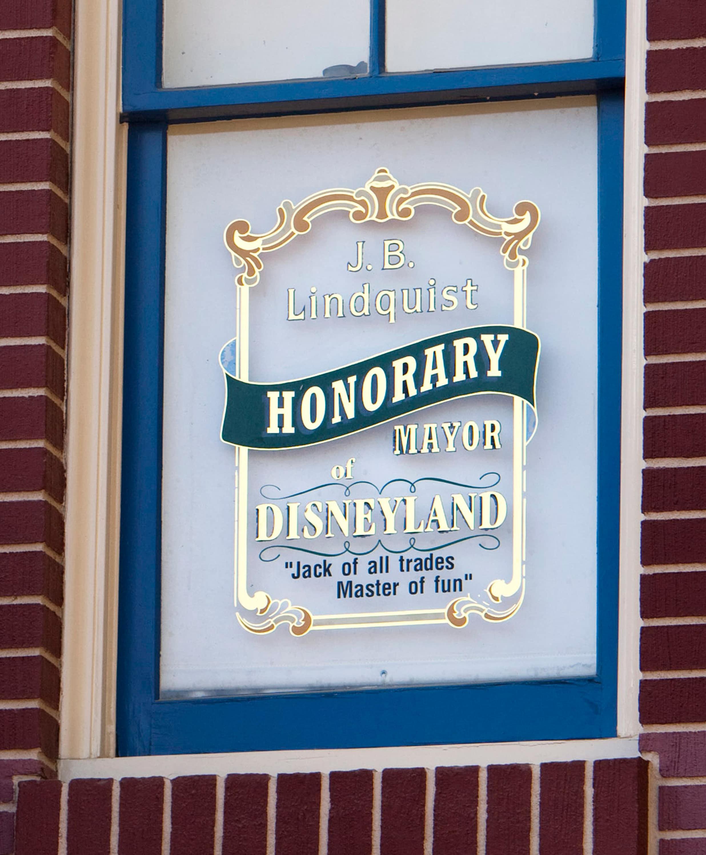 Jack Lindquist's Main Street Window at Disneyland City Hall