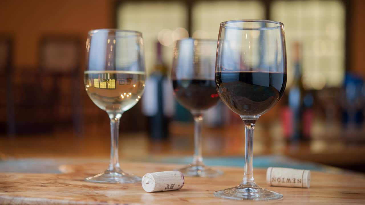 Glasses of Wine at Boatwright's Dining Hall at Disney's Port Orleans Resort at Disney Springs Resort Area