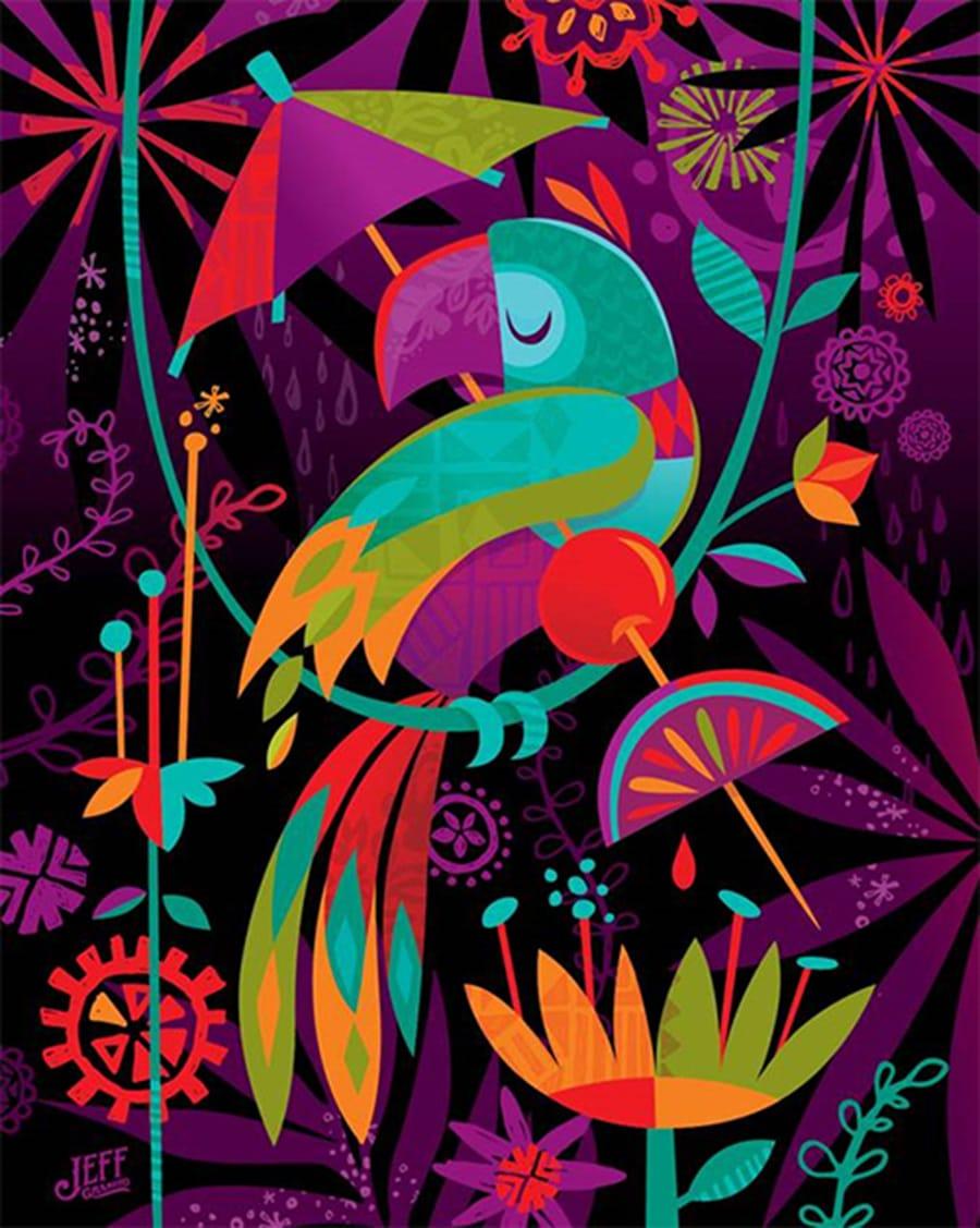Tiki Bird Art by Jeff Granito at April's Disneyland Resort Merchandise Event 2016