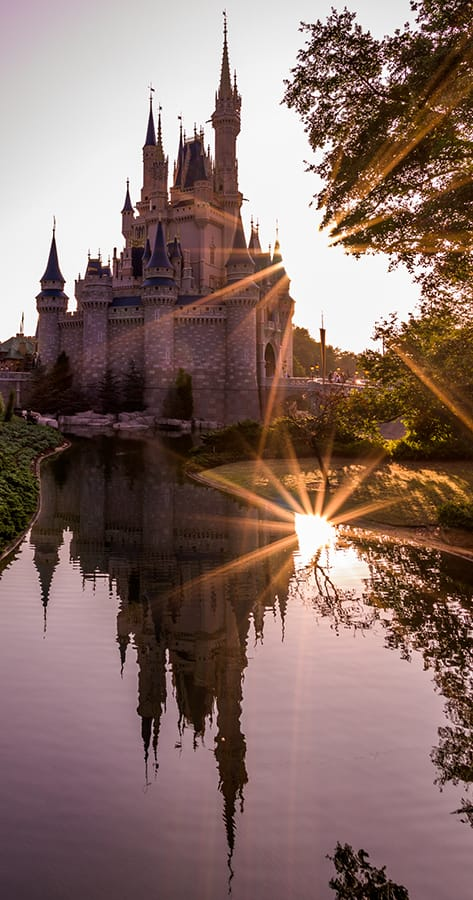 Cinderella Castle Sunrise Sunburst Reflection