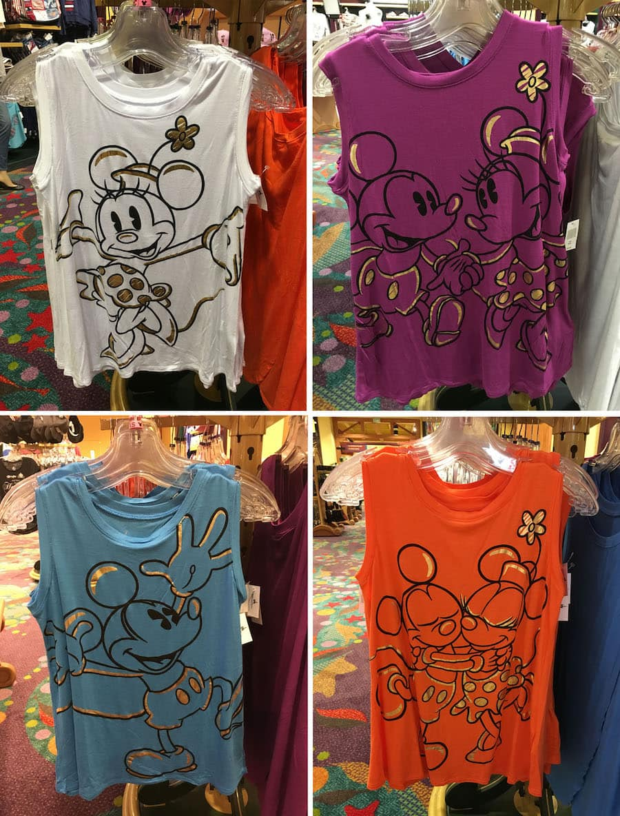 Brightly Colored Mickey and Minnie T-shirts Available at Disney Parks
