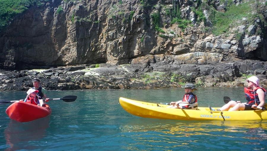 Kayakers at Sark Island Port Adventure with Disney Cruise Line