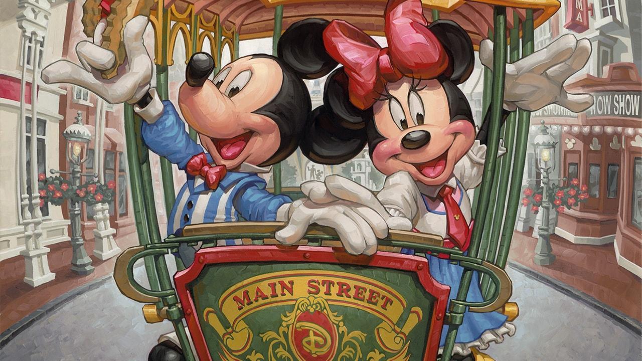 Mickey and Minnie in a Main Street U.S.A. Trolley