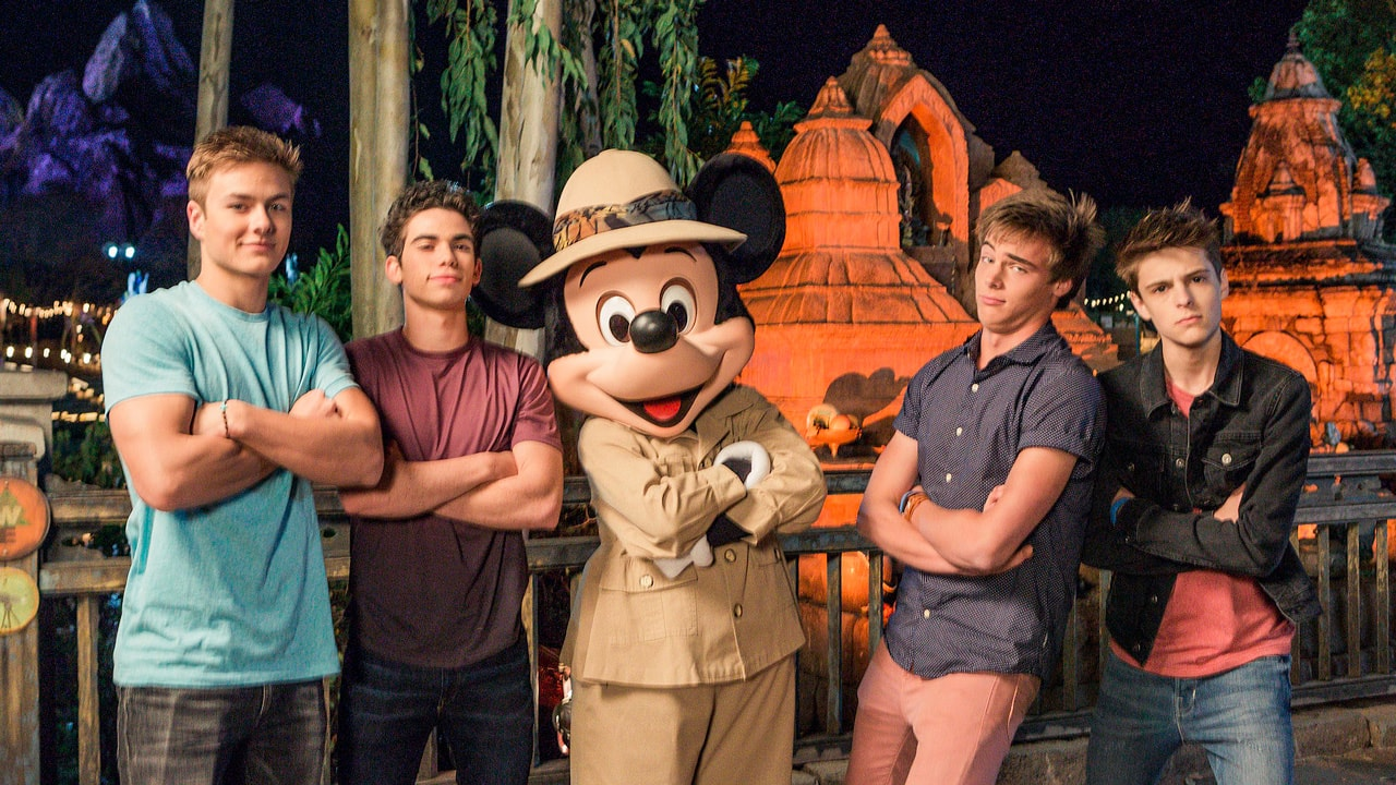 Cameron Boyce, Peyton Meyer, Corey Fogelmanis and Kevin Quinn from the Disney Channel visit Animal Kingdom at Walt Disney World Resort