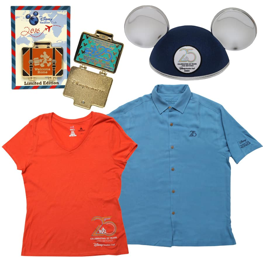 Disney Vacation Club 25th Anniversary Mickey Mouse Ears Hat, Apparel and Limited Edition Pin