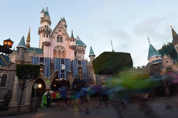 Running through Sleeping Beauty Castle.