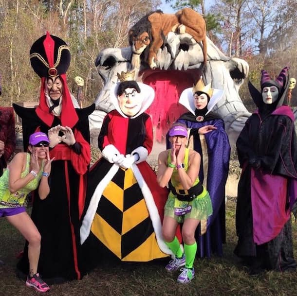 Celeste and Donna stop for pictures with some Disney villains