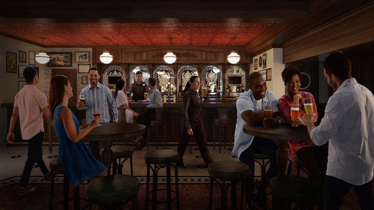 This fall on the Disney Wonder, Disney Cruise Line guests will experience the newest addition to the After Hours adult district – an authentic English tavern. A selection of British and specialty beers create the perfect pub atmosphere where adult guests can sip a pint or cocktail, or sample a brew made especially for the pub. (Photo illustration, Disney)